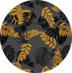 Gouden MatStyles Rond Vloerkleed Tapijt Mat Groen Botanisch - Wasbaar - Antislip - 115 x 115 cm