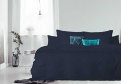 Donkerblauwe Elegance Dekbedovertrek - 140x200/220 - Uni Percal katoen - Met Bies - dark blue