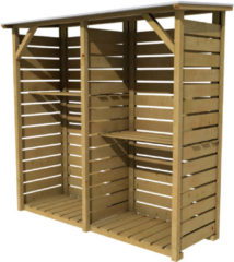 Bruine Woodvision - Haardhoutberging Twin - Grenen - 176 x 190 x 60 cm