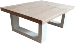 Bruine Wood4you - Salontafel New England Eikenhout Wit 130Lx40Hx80D cm