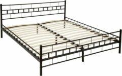 Zwarte Tectake Bedframe metalen bed frame met lattenbodem 200*180 cm 401720