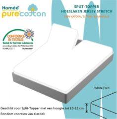 Witte Homee Homéé - Splittopper Hoeslaken Jersey Katoen - Wit - 180 x 200/210/220 + 10cm