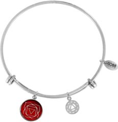 Rode CO88 Collection 8CB-26006 - Stalen bangle met bedels - glazen root chakra - one-size - zilverkleurig / rood