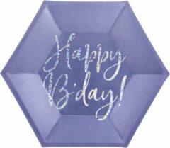 Paarse PartyDeco Borden Happy Birthday blauw / Zilver (6 stuks),
