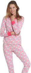 Roze Happy Snooz Damespyjama set voor volwassenen van katoen - Leuke Cupcake prints- Maat XL