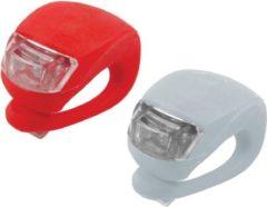 Rode Merkloos / Sans marque Fietslampjes Set - LED Fietsverlichting Voorlicht & Achterlicht Fiets - Waterdichte Siliconen LED fiets lampen