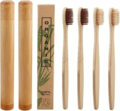 Btp Bamboe tandenborstels |Set Van 4 Tandenborstels Plus 2 Bamboe Kokers| Medium soft | Biologisch Afbreekbaar | 2 Creme - 2 Bruin|