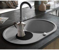 VidaXL Lavello da Cucina in Granito Vasca Singola Ovale Grigio