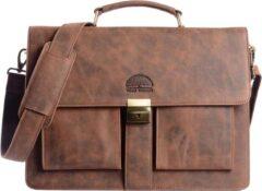 Wild Woodss WILD WOODS Leren Briefcase Aktetas met 15,6 inch Laptopvak – Business Laptoptas – Buffelleer - Vintage Bruin