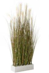 Kunstpflanze Raumtrenner-Gras Grün/Weiß