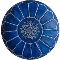 Lichtblauwe Poufs&Pillows Leren Poef - Hemelsblauw - Handgemaakt en stijlvol - Gevuld geleverd