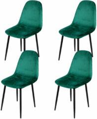 Gebor Set van 4 eetkamerstoelen fluweel – Model Inoui - Modern Ontworpen Stoel – Groen Velvet – Design – Fluweel – Groen