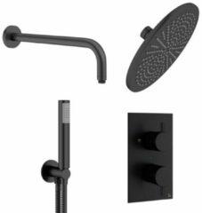 Crosswater MPRO regendouche 30cm inclusief inbouw thermostatische douchekraan, wandarm en handdouche in mat zwart PRO1510RM+