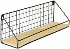 Geen specifiek merk DB Lifestyle opbergrek wand of staand - zwart - met houten plank - rechthoekig - 45x12x15cm - dicht