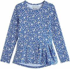 Blauwe Coolibar - UV Shirt voor meisjes - Longsleeve - Aphelion Tee - True Blue Floral - maat M (122-134cm)