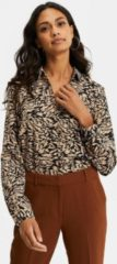 WE Fashion blouse met all over print zwart/beige