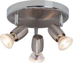 Zilveren BRILLIANT lamp Wesley LED Spotrondell 3flg ijzer / chroom | 3x LED-PAR51, GU10, 5W LED reflectorlampen inbegrepen, (380lm, 3000K) | Schaal A ++ tot E | Hoofden draaien