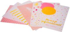 Xenos Wenskaarten happy birthday - goudprint - set van 6