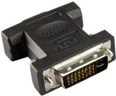 Goobay DVI / VGA Adapter [1x DVI-stekker 24+5-polig - 1x VGA-bus] Zwart Vergulde steekcontacten