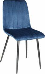 MWI Collectie Eetkamerstoel Milaan velvet - Set van 4 - Blauw - Fluweel - Velvet - Eetkamerstoel - Eetkamerstoelen - Woonkamerstoelen