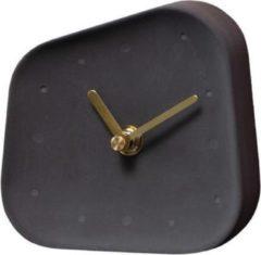 Antraciet-grijze QUVIO Tafelklok beton asymmetrisch met gouden wijzers / Bureauklok / Klok / Tafelklok - Antraciet