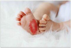 Rode KuijsFotoprint Poster – Babyvoet met Lippenstiftkusje - 90x60cm Foto op Posterpapier