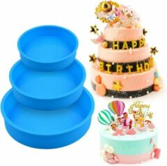 Blauwe Lynn's Siliconen bakvormen - Rond - Set van 3 - Taart - Cake - 13cm & 18cm & 20cm - Vaatwasser geschikt - Willekeurige kleur