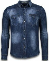Enos Denim Shirt - Spijkerblouse Slim Fit - Vintage Washed - Blauw Heren Overhemd