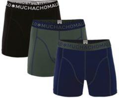 Muchachomalo Basiscollectie Heren Boxershorts - 3 pack - Donkerblauw/Legergroen/Zwart - Maat S