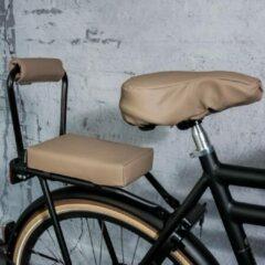 Taupe Ohmiomine Complete Set : bagagedrager-kussen en rug-rolkussentje incl. voetsteuntjes en rugleuning Leather Look