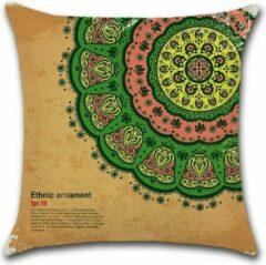 Roze By Javy Kussenhoes Marrakech - Bruin & Groen - Kussenhoes - 45x45 cm - Sierkussen - Polyester