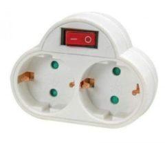 Stopcontact splitter dubbel wit - Met randaarde en schakelaar - Witte stekkeradapters - Doorvoerstekkers / Tweewegstekkers