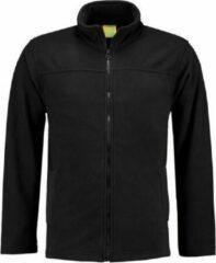 L&S Zwart fleece vest met rits voor volwassenen 2XL (44/56)