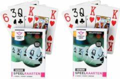 Longfield 2x Senioren speelkaarten plastic poker/bridge/kaartspel met grote cijfers/letters - Ideaal voor oudere mensen/slechtzienden - Kaartspellen - Speelkaarten - Pesten/pokeren