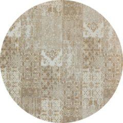 Creme witte Gínore Vintage rond vloerkleed - Patchwork - Tapijten woonkamer - Lungo Crème - 140cm ø