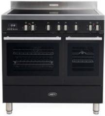 Antraciet-grijze Boretti MFBI902AN Milano inductiefornuis met 2 ovens en Booster kookzones