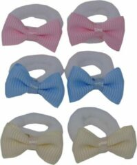Beige Jessidress Baby Mini Haarelastiekjes met kleine Haarstrikjes - Roze