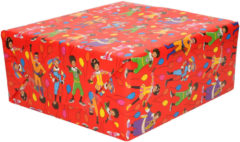 3x Rollen inpakpapier/cadeaupapier Club van Sinterklaas rood 200 x 70 cm - Cadeaupapier/inpakpapier voor 5 december pakjesavond