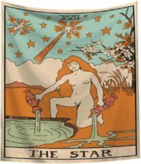 Beige Kasey The Star XVII (Woman) Wandkleed - Tarot Kaarten - Wanddecoratie Tarotkaart - 70x95CM