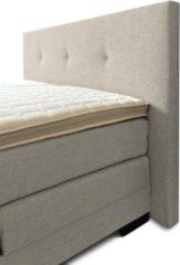 Boxspring Brava compleet, merk Olympic Life®, 140 x 220 cm, beige, 14-delig, breed hoofdbord met 3 gecapitonneerde knopen motief