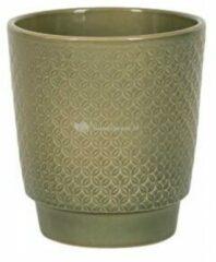 NDT International Pot Odense Star Olive groen M 15x15 cm olijfgroene ronde bloempot voor binnen