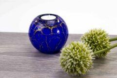 Waxinelicht Mini Urn blauw met bladgoud Loranto