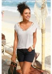 Naturelkleurige S.Oliver RED LABEL Beachwear shirt met geprinte rand