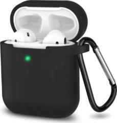 Case2go Apple Airpods hoesje - Siliconen beschermhoes met opdruk - 3.0 mm - Zwart