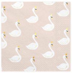Roze Party decoration Servetten Lovely Swan, 33x33cm (1 zakje met 20 stuks)