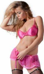 Roze merkloos sans marque set with bra garter skirt and g string pink lingerie for her pink discreet verpakt en bezorgd