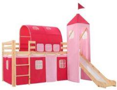 Roze VidaXL Kinderhoogslaper met glijbaan en ladder 97x208 cm grenenhout