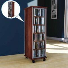 Bruine Vcm CD DVD Kast meubel Valenza draaibaar verrijdbaar (noten)