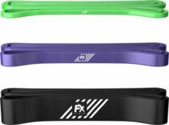 FX FFEXS Pull up band weerstandsbanden fitness set van 3 - Weerstandsband elastiek heavy medium and light - Resistance bands power workout gear gewichtheffen - inclusief 2 jaar garantie