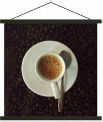 TextilePosters Kopje espresso op koffiebonen schoolplaat platte latten zwart 40x40 cm - Foto print op textielposter (wanddecoratie woonkamer/slaapkamer)